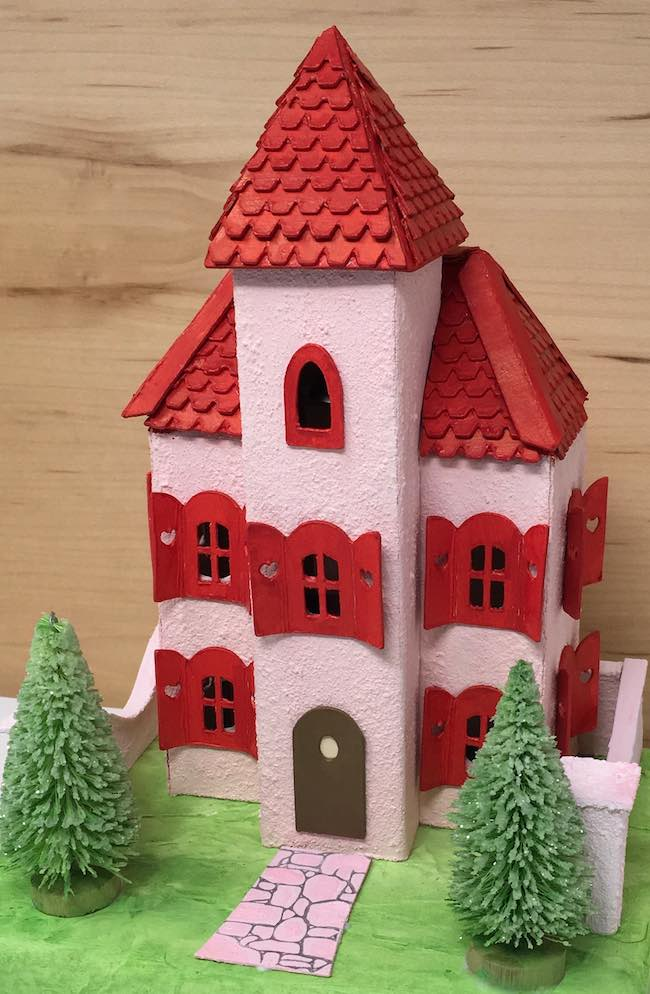 Valentine Villa miniature house with front bell tower