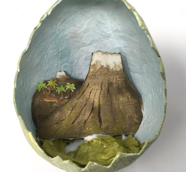 Volcano background and palm trees for paper mache egg diorama