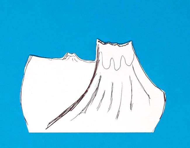 Volcano sketch for dinosaur diorama egg background