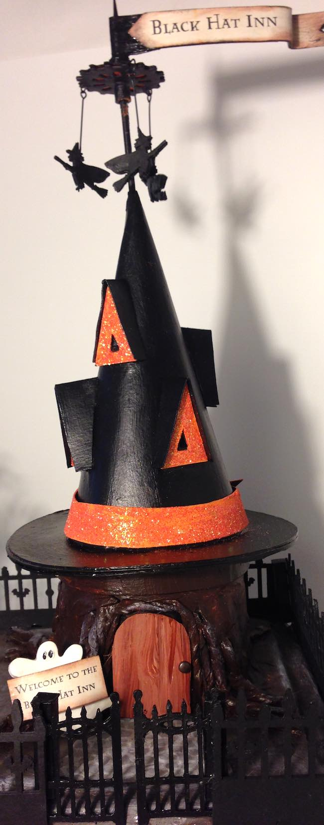 Welcome to the Black Hat Inn cardboard Halloween house