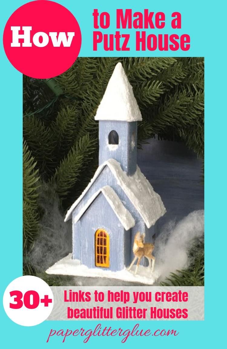 Church putz house with tiny deer