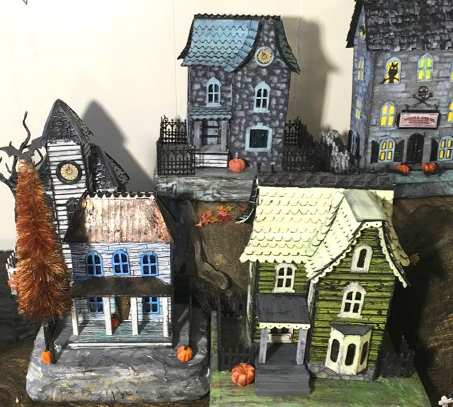 Widow's Walk Halloween Putz House with Halloween bottle brush tree