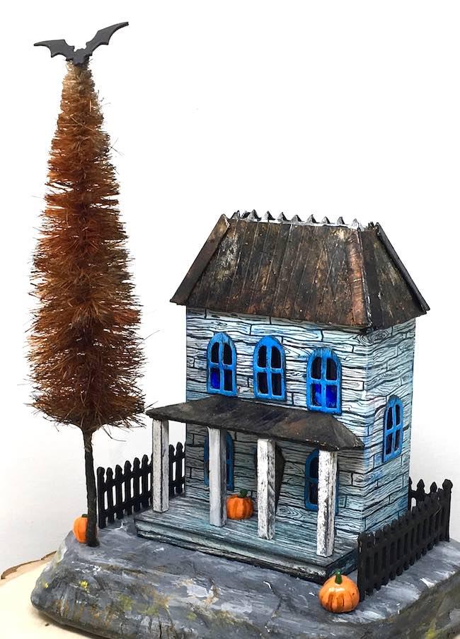 Widows walk miniature Halloween house with DIY bottle brush tree