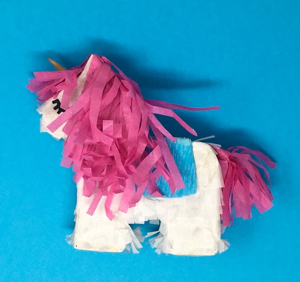 Wildfire the Unicorn gift box with wild tissue paper hair