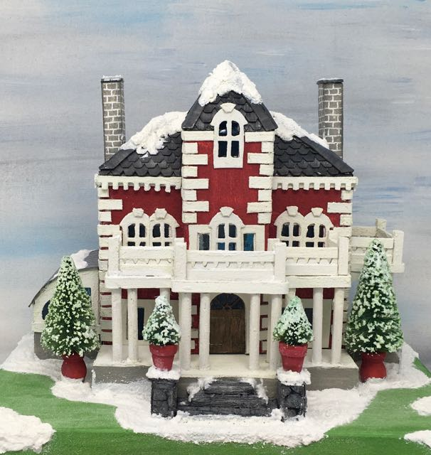 Wilkins House Putz house with twin chimneys #putzhouse #paperhouse #papercrafts