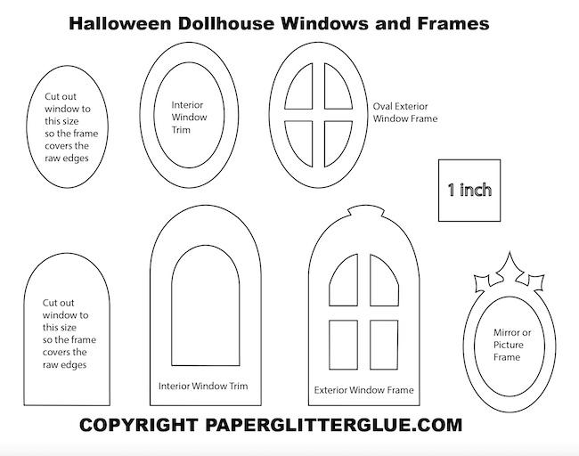 Window Cutouts for Halloween dollhouse
