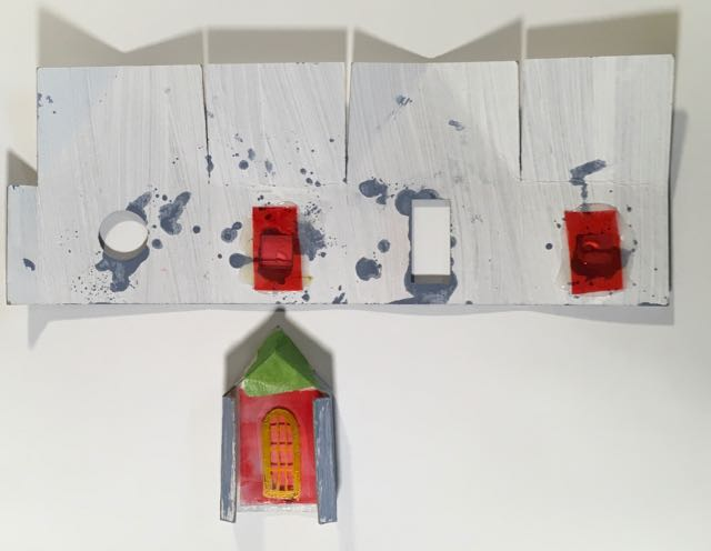 Windows and door glued on the body snowy church paper christmas house