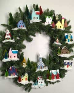 Winter Wonderland Village wreath for Christmas