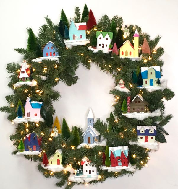 Make your own winter village christmas wreath with glitter houses