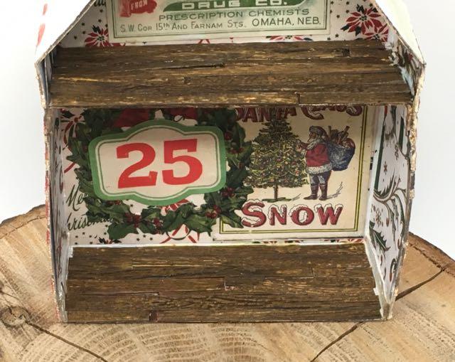 Wood floor on miniature Christmas House shadow box