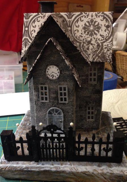 Halloween Paper House - Clock House on a Frost Morn #putzhouse #halloween #glitterhouse #papercraft