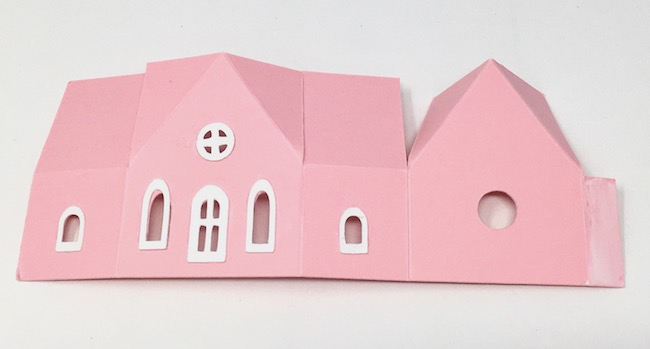 apply glue to side glue tab on paper church