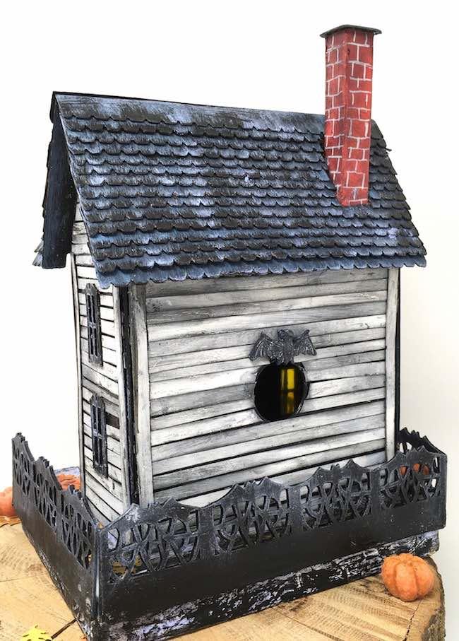 back view little spooky halloween paper habitat house
