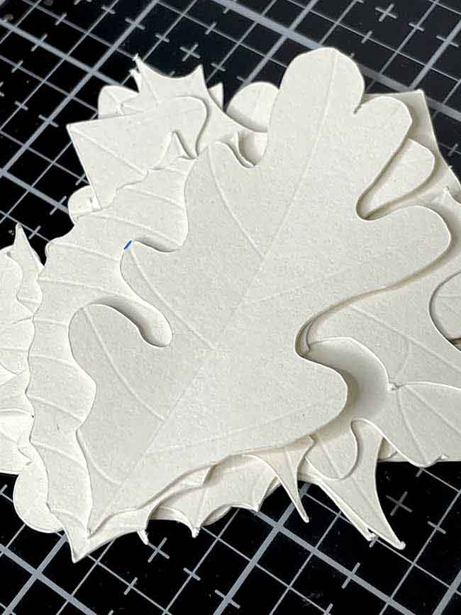 card stock paper leaves debossed and cut by Cricut Maker