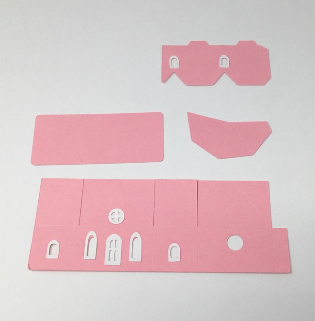 card stock parts for tiny church before folding along score lines