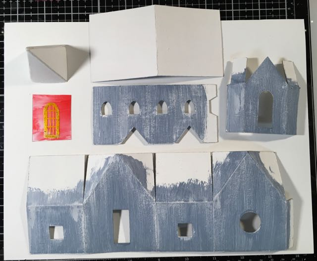 cardboard pieces for snowy church christmas paper house