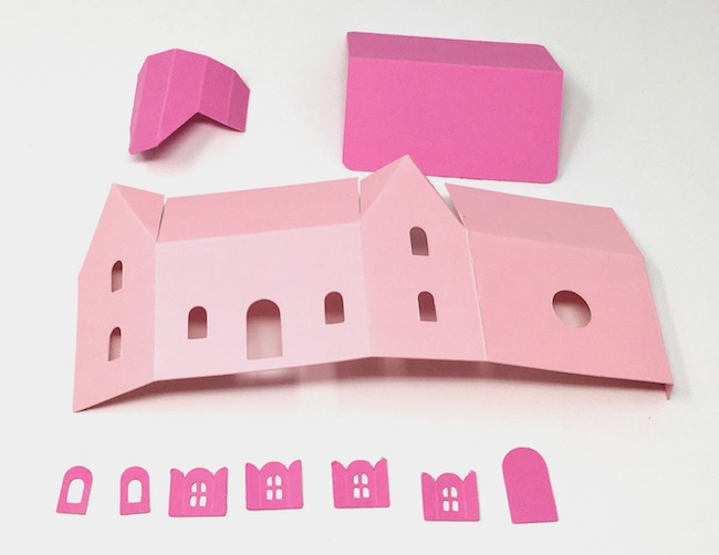 cardstock pieces for tiny cottage paper ornament