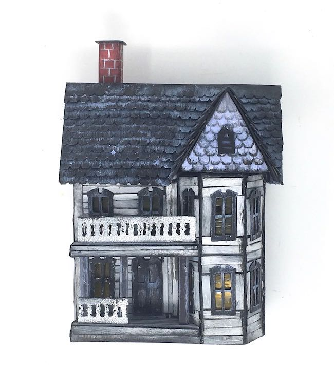 completed spooky miniature halloween house