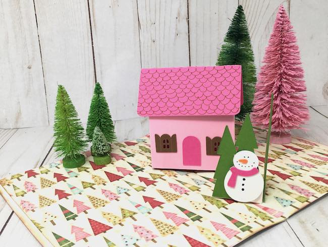 cottage pop up card with snowman trees pop up in front