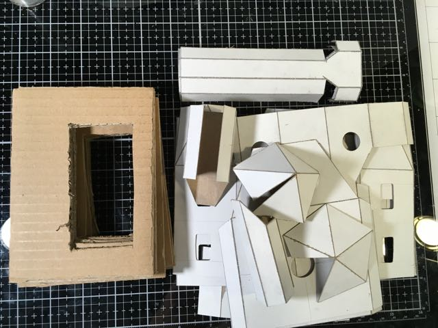 Cut cardboard pattern pieces for Haunted Schoolhouse #paperhouse #papercrafts