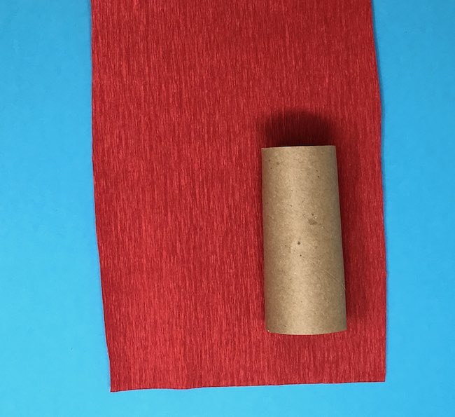 cut crepe paper 6 inches wide to cover cardboard roll