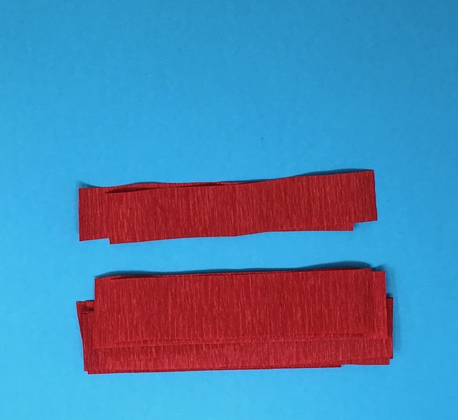 cut crepe paper strips about 1 inch wide