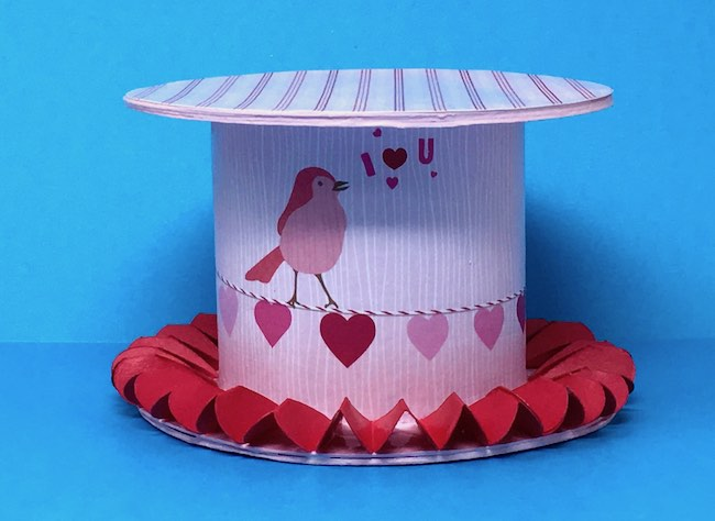 decorated ribbon roll base for valentine paper house