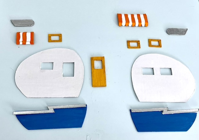 decorative cardboard pieces for the sides of tiny travel trailer