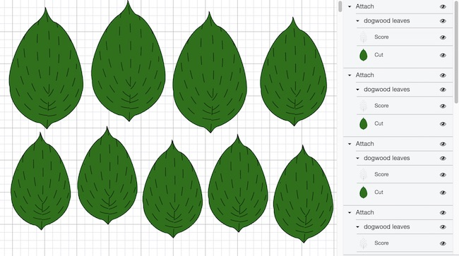 dogwood leaves in Cricut Design Space