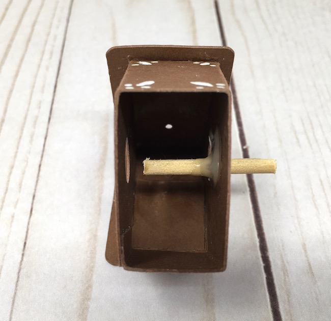 dowel for perch on paper birdhouse