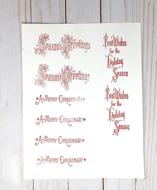 embossed holiday sentiments