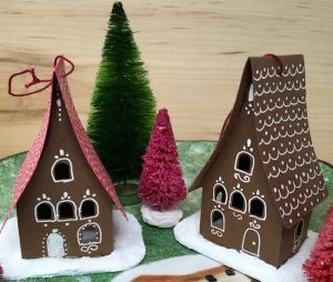 gingerbread paper house holiday ornament