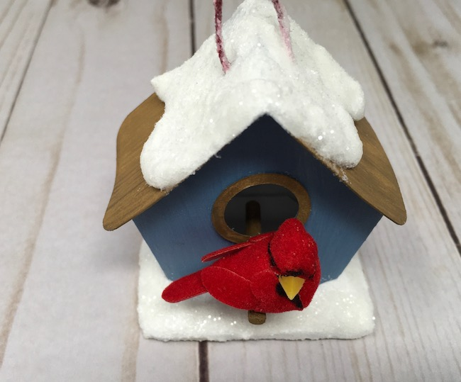glittery snow on paper birdhouse ornament