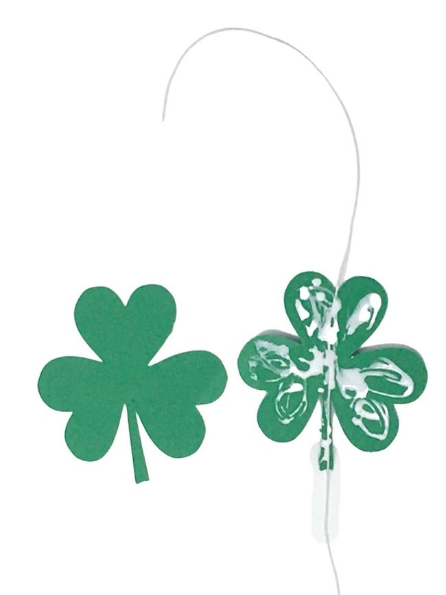 glue 2 shamrocks together with elastic thread in between