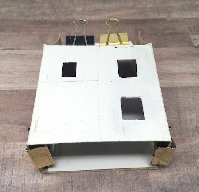 glue front and back cardboard house pieces together