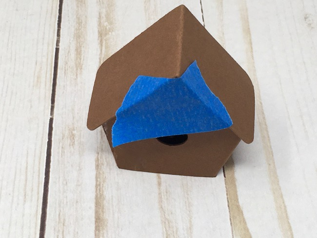 glue roof to paper birdhouse