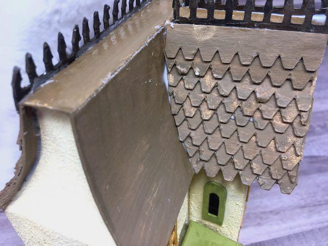 glue shingles on thanksgiving putz house