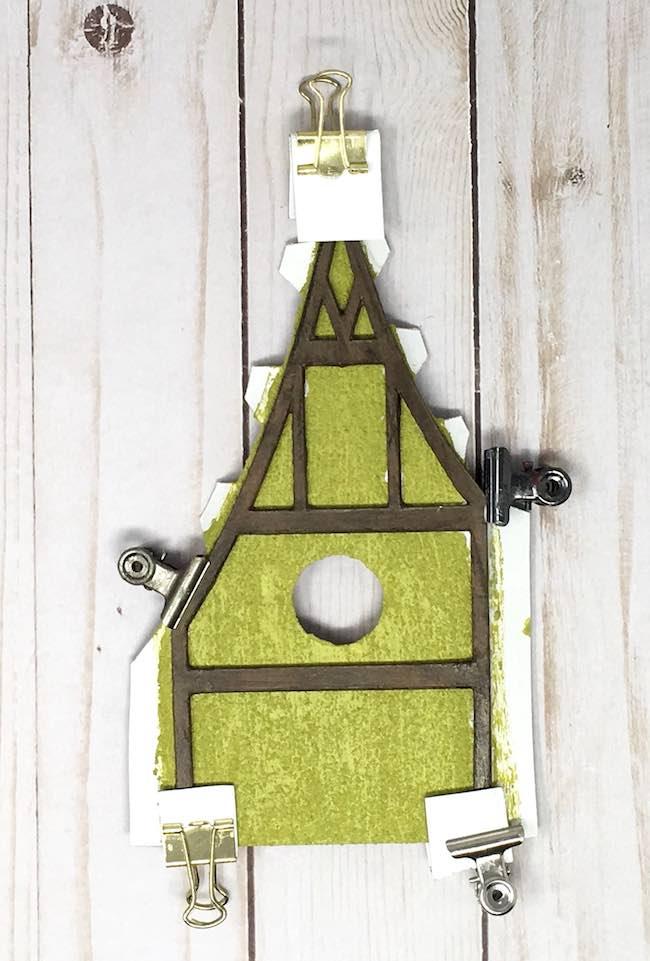 glue trim to cottage house pieces