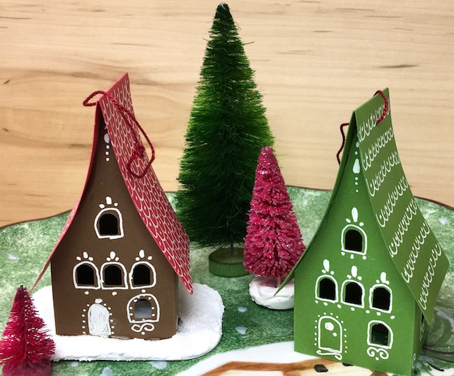 holiday paper houses gingerbread ornaments