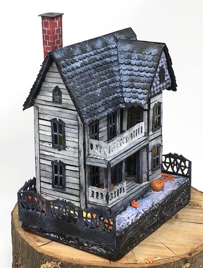 left side view spooky miniature halloween house