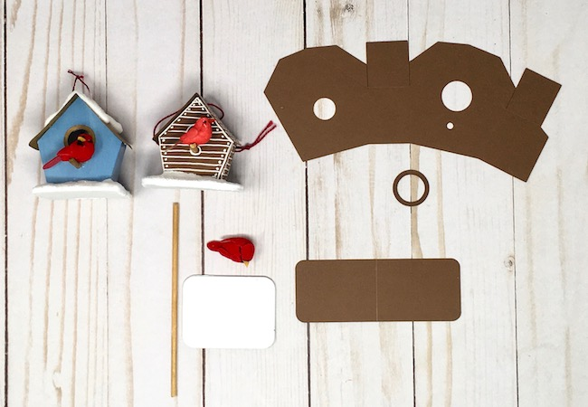 make miniature paper birdhouse supplies