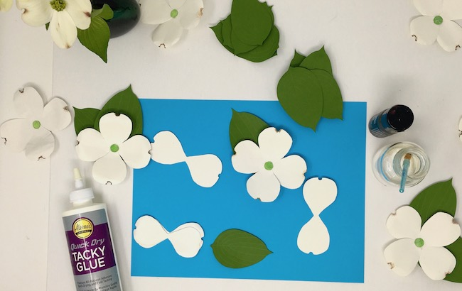 DIY materials to make paper dogwood flowers