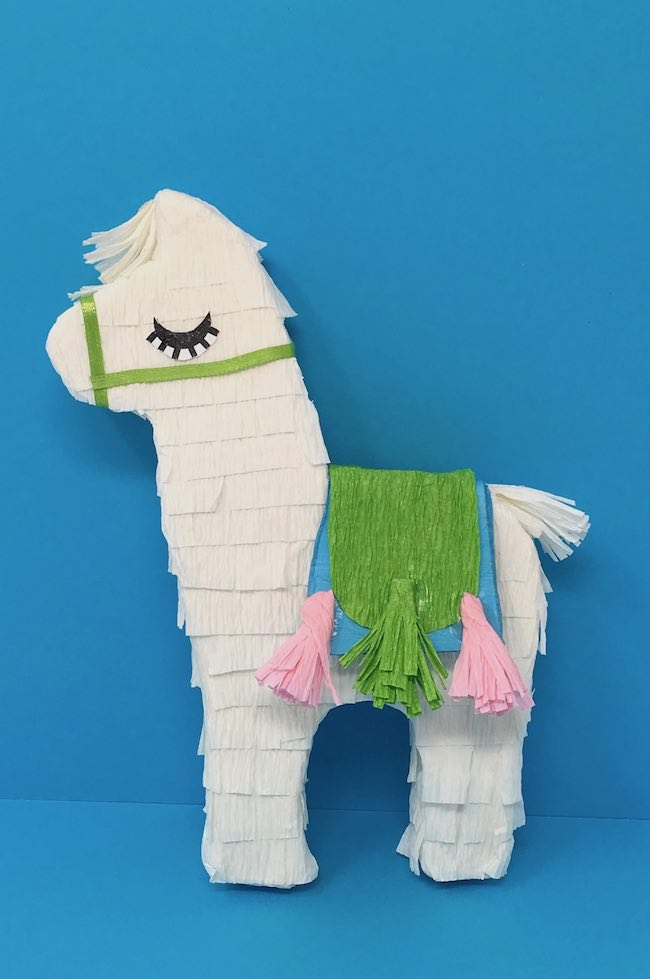 mini paper llama with blue and green saddle tassels