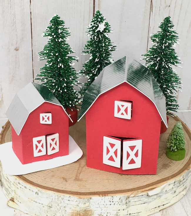 miniature barn ornaments showing the metallic roof