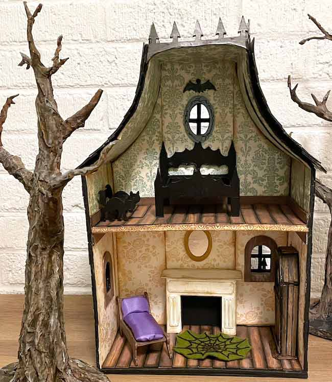miniature cat bench in dollhouse