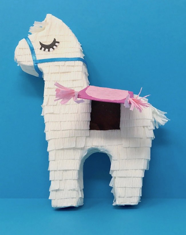 miniature llama pinata with trapdoor open for loot