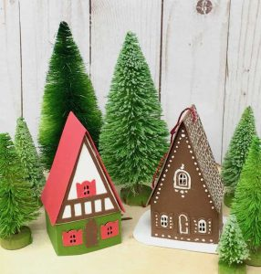 miniature swiss chalet ornaments for holiday decor