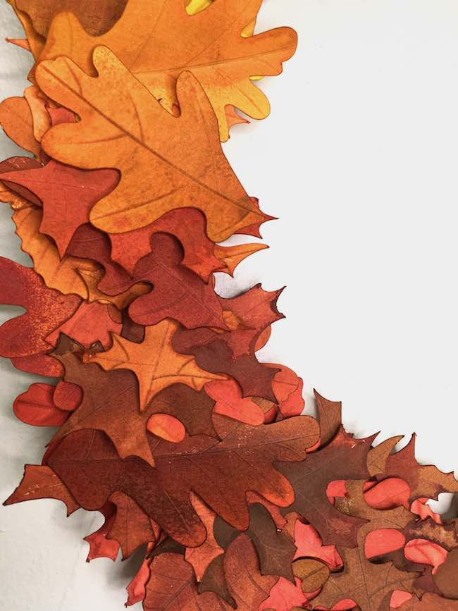 orange to red transition for paper leaves