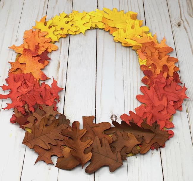 organize leaves in ombre design for wreath