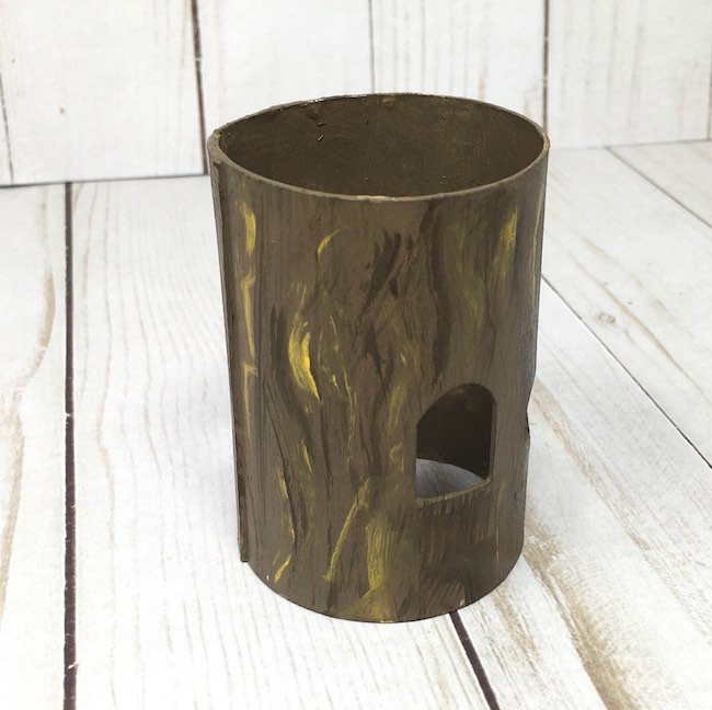 easy method to mimic bark on fairy house base